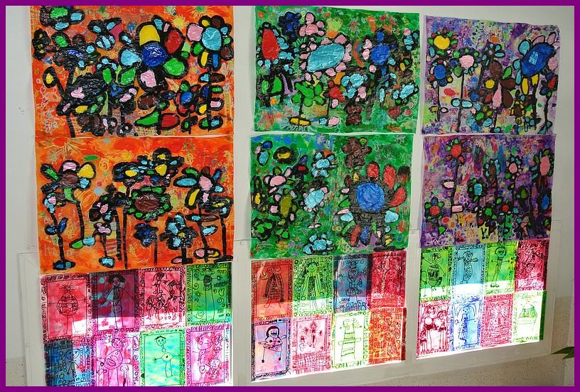 Ecole maternelle publique saint pierre lamothe vend me vitraux for Peinture sur papier